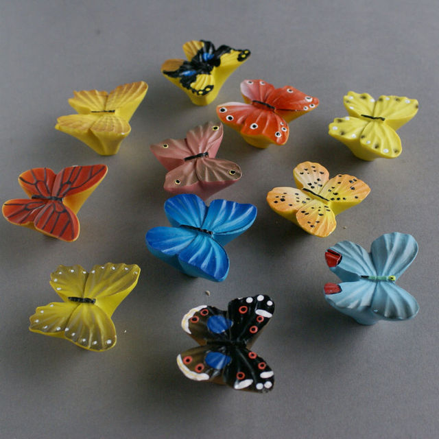 Cute Cartoon Butterfly Kids Cabinet Knobs And Handles Dresser Drawer Pulls  For Bedroom Bathroom Furniture Kitchen
