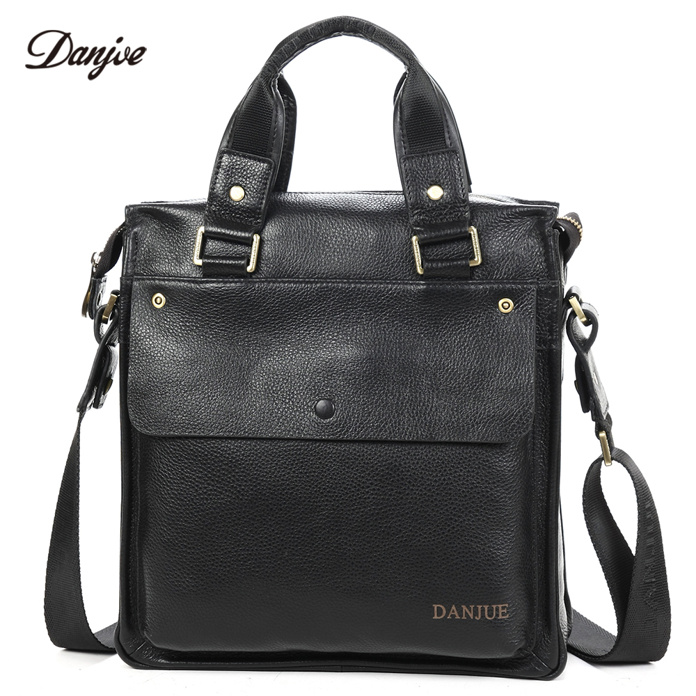 DANJUE Cowskin Mens Handbag Business vertical shoulder bag for male brand genuine leather Messenger Bags BlackDANJUE Cowskin Mens Handbag Business vertical shoulder bag for male brand genuine leather Messenger Bags Black