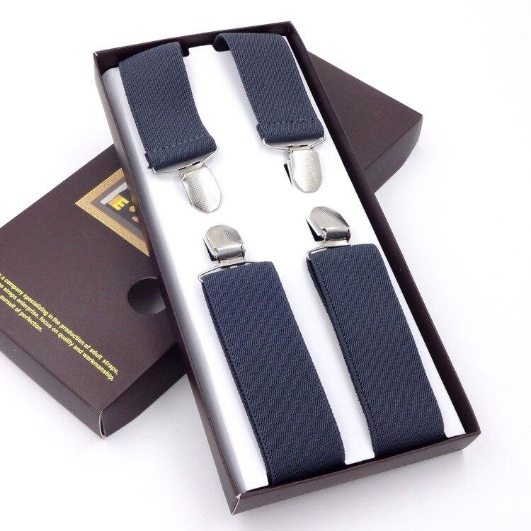 Men Suspenders X-Shape Braces 4 Clips Adjustable Belts Clip-on Braces Elastic Slim Suspender 100-110CM Adjustable