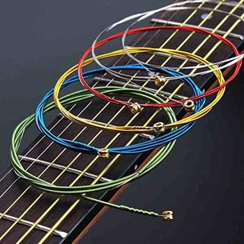6 sztuk zestaw struny do gitary akustycznej Rainbow kolorowe struny E-A dla akustyczna gitara folkowa gitara klasyczna wielokolorowy tanie i dobre opinie GT30027 Acoustic Guitar Strings 6Pcs Set Colorful Guitar Strings Wholesale Retail Dropshipping Approx 90 cm 35 43 011 (0 28mm) stainless steel
