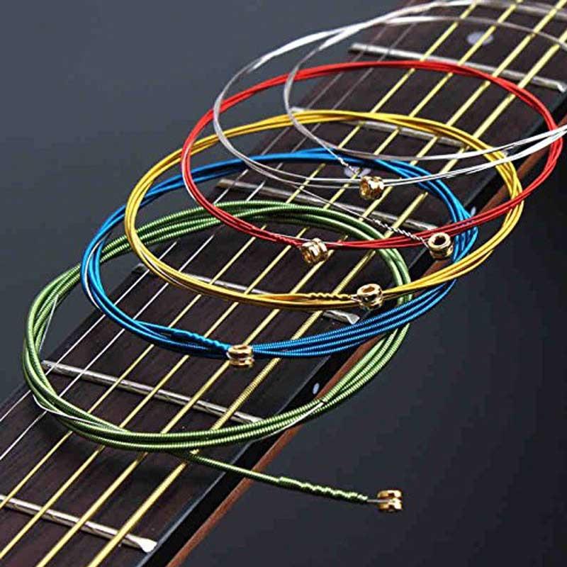 6 ədəd / set akustik gitara torları göy qurşağı rəngli gitara - Musiqi alətləri