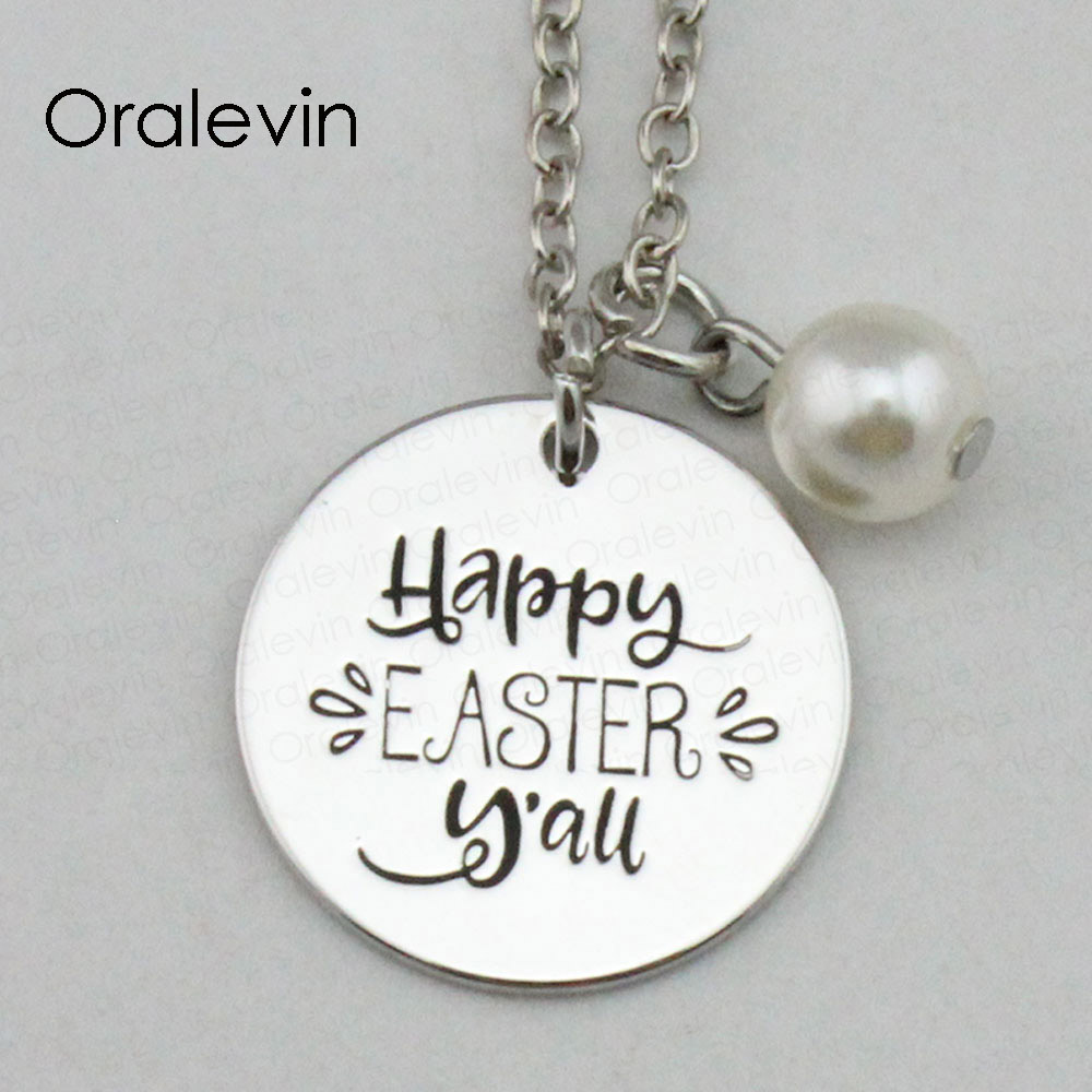 Cute 925 Sterling Silver Happy Easter Round Pendant DIY ... |Happy Easter Jewelry