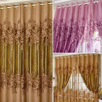 Free Shipping Luxurious Upscale Jacquard Yarn Curtains Peony Pattern Voile Door Window Curtains Living Room Bedroom