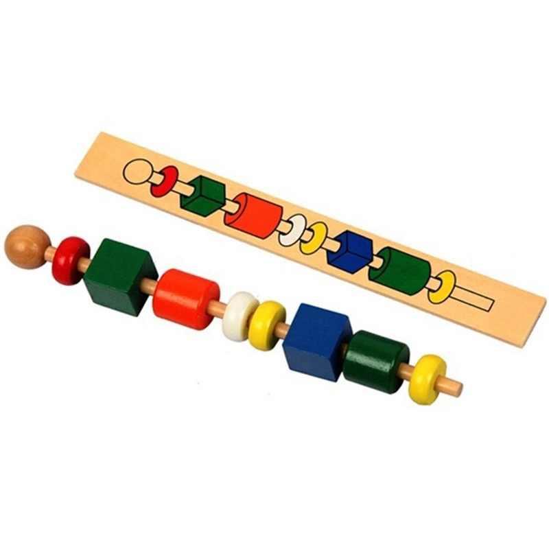 Montessori สำหรับเด็กเด็กการศึกษาของเล่นไม้ที่มีสีสันรูปร่าง Stick ประดับด้วยลูกปัดของขวัญของเล่นสำหรับทารก 2 ปีการจัดส่งจากรัสเซีย