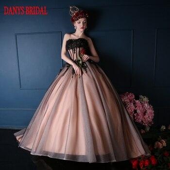 7140eae2c Negro bola princesa Vestidos de quinceañera Niñas amor moldeado Masquerade dulce  16 Vestidos bola vestidos de 15 anos