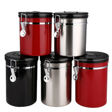 With Exhaust Valve Canister Food Tea Jar Storage Sugar Pot Sealed Can Stainless Steel Vacuum Container Kitchen Home Coffee Bean