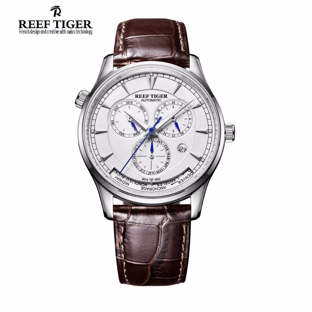 Reef Tiger/RT Automatic World Time Watch for Men White Dial Steel Watch with Date Day RGA1951 reef tiger designer fashion diamonds automatic watch with white mop dial steel watches for women rga1550