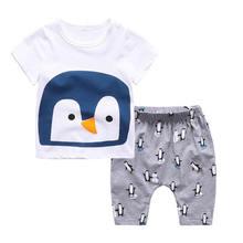 Boy Summer Cartoon Shorts Suit Two Pieces Boy Sets t-shirt+pants Baby Clothing Cotton Cartoon Dinosaur Penguin Lion Print Sets