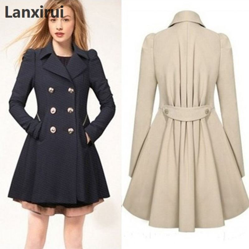 Coat Especially Windbreaker England-Style Female Spring-Double-Breasted Long Women 5xl-Plus title=