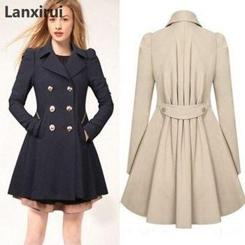 Especially Female Coat England Style Women Spring Double-Breasted Long Trench Overcoat Raincoat Windbreaker Coats 5XL PLUS