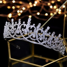 2018 New Fashion Baroque Luxury Crystal  Bridal Crown Tiaras Light Gold Diadem Tiaras for Women Bride Wedding Hair Accessorie
