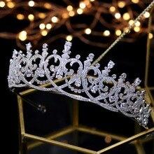 2018 חדש אופנה הבארוק יוקרה קריסטל כלה כתר מצנפות אור זהב ניזר מצנפות חתונת כלה נשים שיער Accessorie