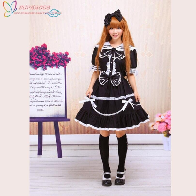 Livraison gratuite! Nouvelles Arrivées! Haute Qualité! Robe Lolita classique noire à manches courtes en coton