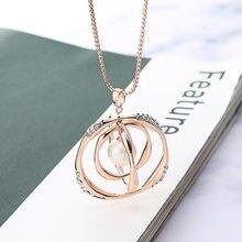 Ожерелье с подвеской в виде золотых волнистых колец жемчугом