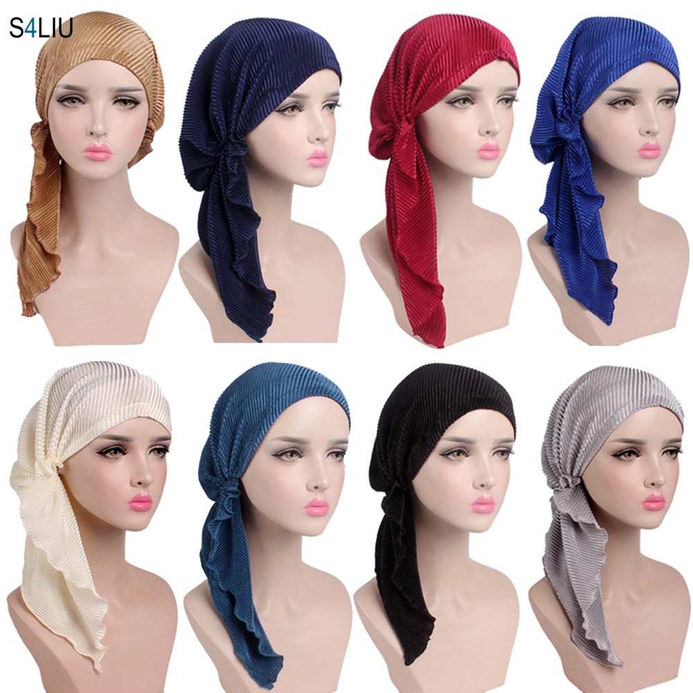 Muslim Women Hair Loss Cancer Chemo Cap Turban Beanie Islamic Head Wrap Long Tail Ruffle Pre-tied Bandana Tichel Headwear