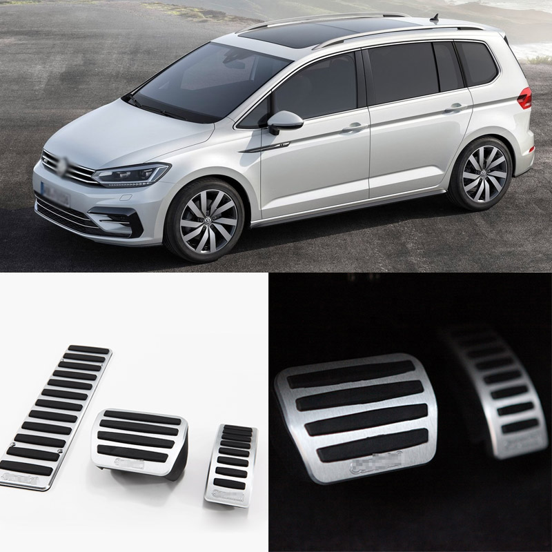 Brand New 3pcs Aluminium Non Slip Foot Rest Fuel Gas Brake Pedal Cover For VW Touran AT 2008-2015 brand new 3pcs aluminium non slip foot rest fuel gas brake pedal cover for peugeot 508 at 2011 2016