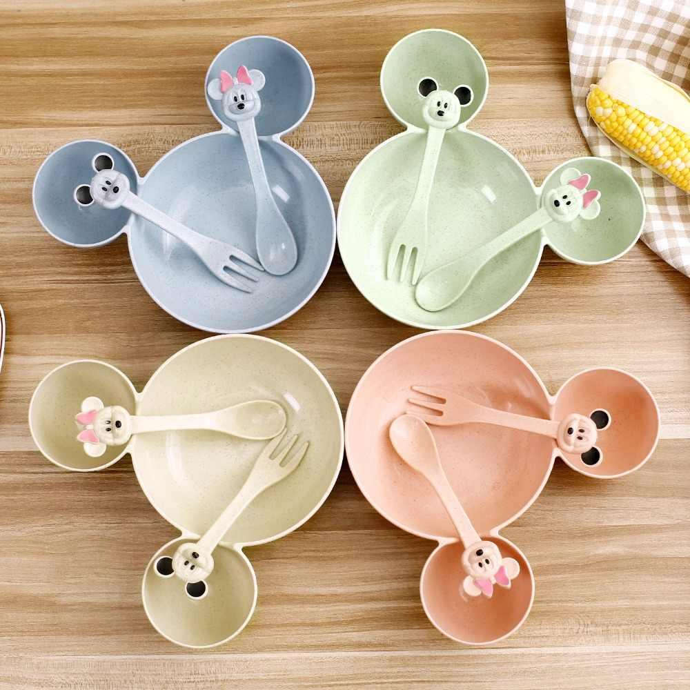 3 Pcs Children Plates Children Baby Bamboo Tableware Solid Feeding Mickey  Dishes Baby Bowl Plate Food Feeding Dinnerware Set| | - AliExpress