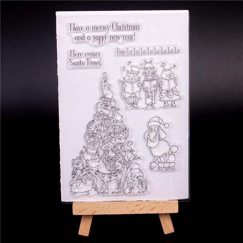 Clarté Transparent Silicone Timbres pour BRICOLAGE Scrapbooking Carte Faisant diy photo Rouleau album Décoratif Chat chien chœur