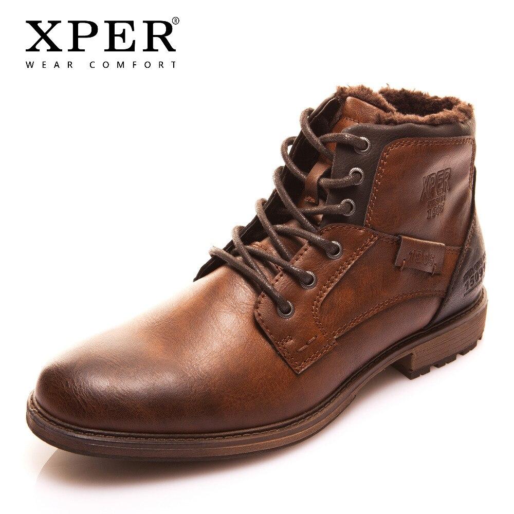 XPER Automne Hiver Mode Hommes Bottes Vintage Style Casual Hommes Chaussures à Lacets Chaud En Peluche Étanche Moto Bottes XHY12504BR /M
