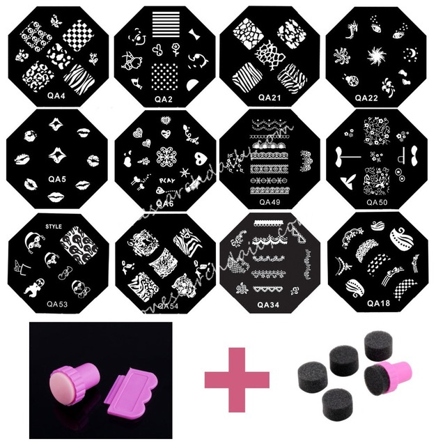 Set 20 Pcs Nail Art Templates + Stamper + Sponge Plates DIY Transfer Polish Tool