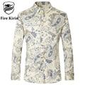 Casual Floral Camisetas de Manga Larga Hombres Camisa Masculina Slim Fit Mens Impreso Chemise Homme Camisas de Algodón 4XL 5XL del Tamaño Extra Grande T163