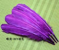 Gros 100 pcs 25 - 30 cm couleur pourpre véritables plumes de dinde naturelles plumes cheveux extensions plume d'oie