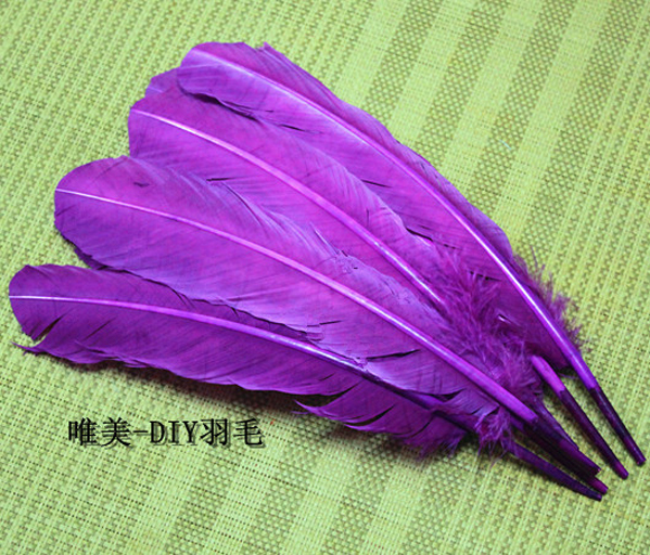 wholesale 100pcs 25-30cm purple color real natural turkey feathers plumes hair extensions goose feather