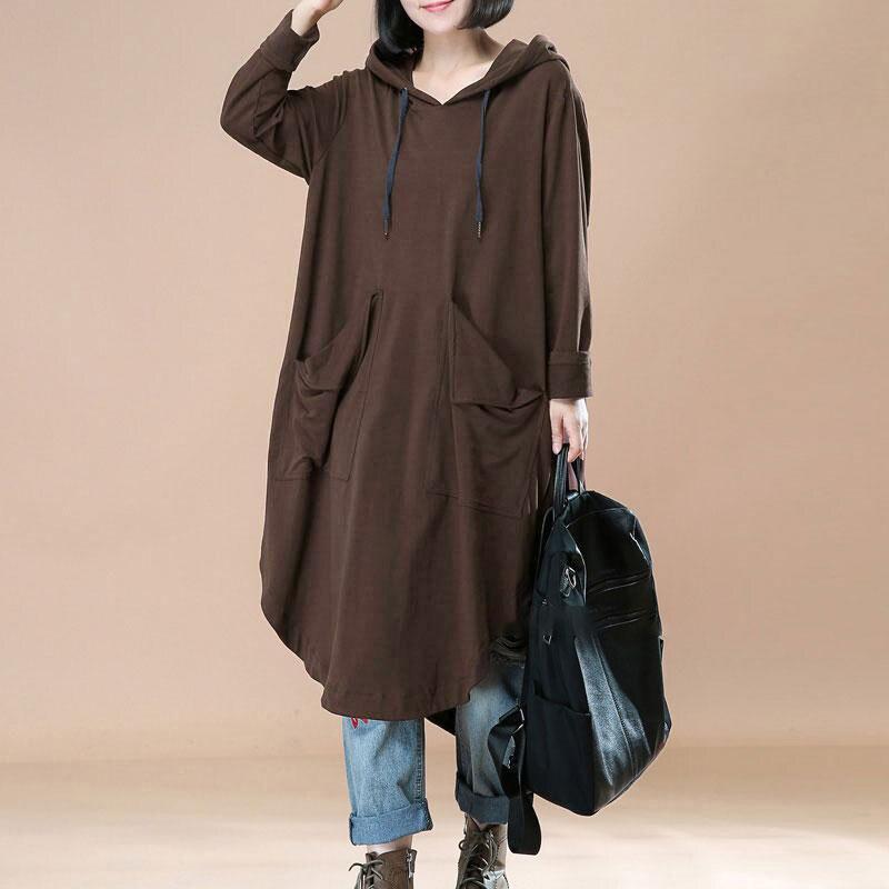 096340ce5c8ed L-5XL ZANZEA Fashion Women Hooded Batwing Sleeve Pockets Irregular Hem  Pullover Dress Hoodie Long