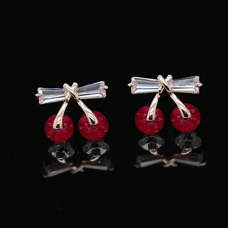 2018 New 2Color Sweet Red Cherry Stud Earrings CZ Zircon Bowknot Flower Earrings For Boucle D'oreille Femme Dropship