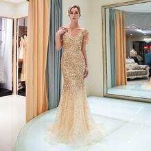 Haute qualité perlée robes de soirée longue 2019 sirène hors épaule robes de soirée hijab robe de bal tulle robe formelle Vestido