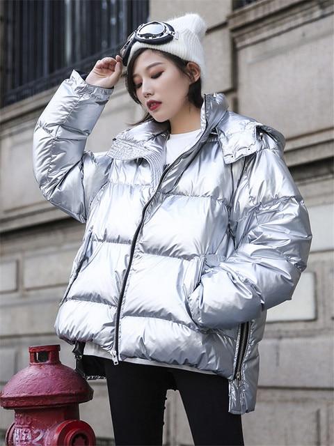 a1e2caf91e2 Women Fashion Padded Parkas Jacket 2018 Winter Long Sleeve Hooded Parka  Coats Metallic Silver Shiny Down