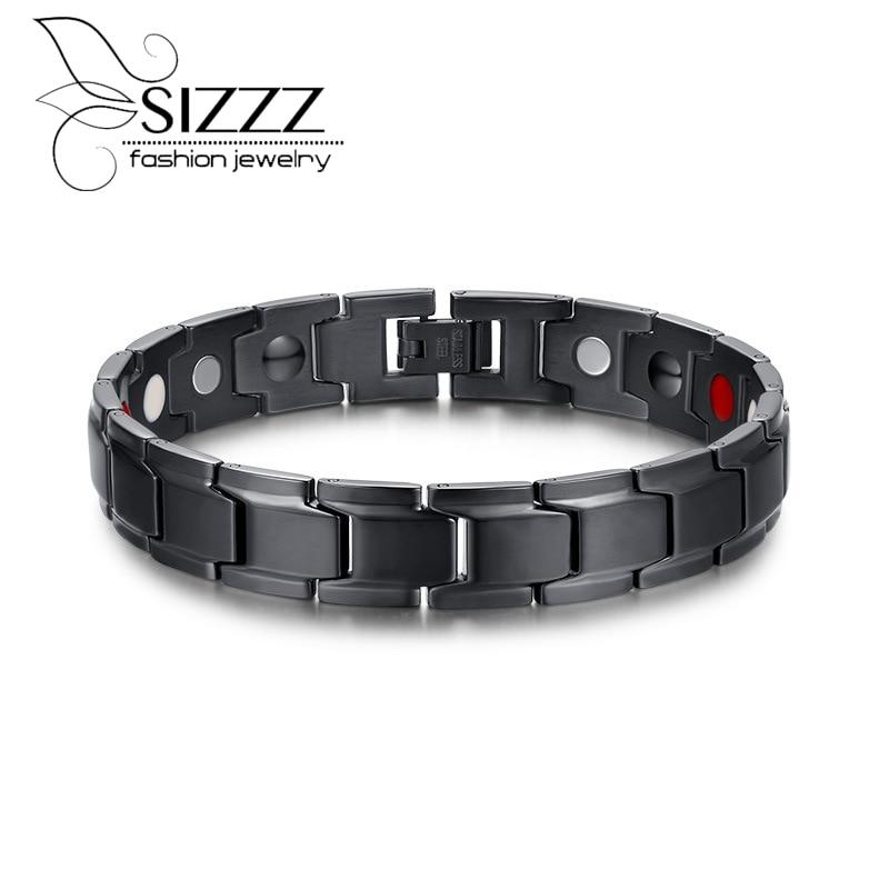 2016 Health Magnetic Bracelet Men Jewelry Black Plated Stainless Steel Hand Bracelets