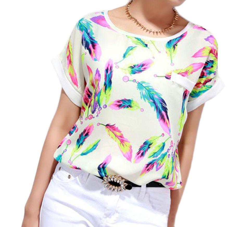 snowshine YLWX 1PC Women Feathers Chiffon Blouse Top Casual Short Sleeve Loose (China)