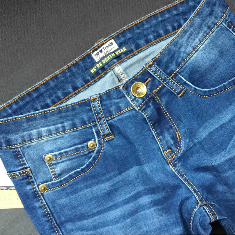 6406e2a2101b ... Witsources Pencil Jeans Women Low Waist Pencil Skinny Jeans with Ripped  Holes & Sandblast Indigo Blue ...