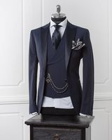 Navy Blue Men Blazer Business Modern Men Suit With Pants Slim Fit Wedding Suits For Men Prom Formal Jacket Tuxedo Costume Homme