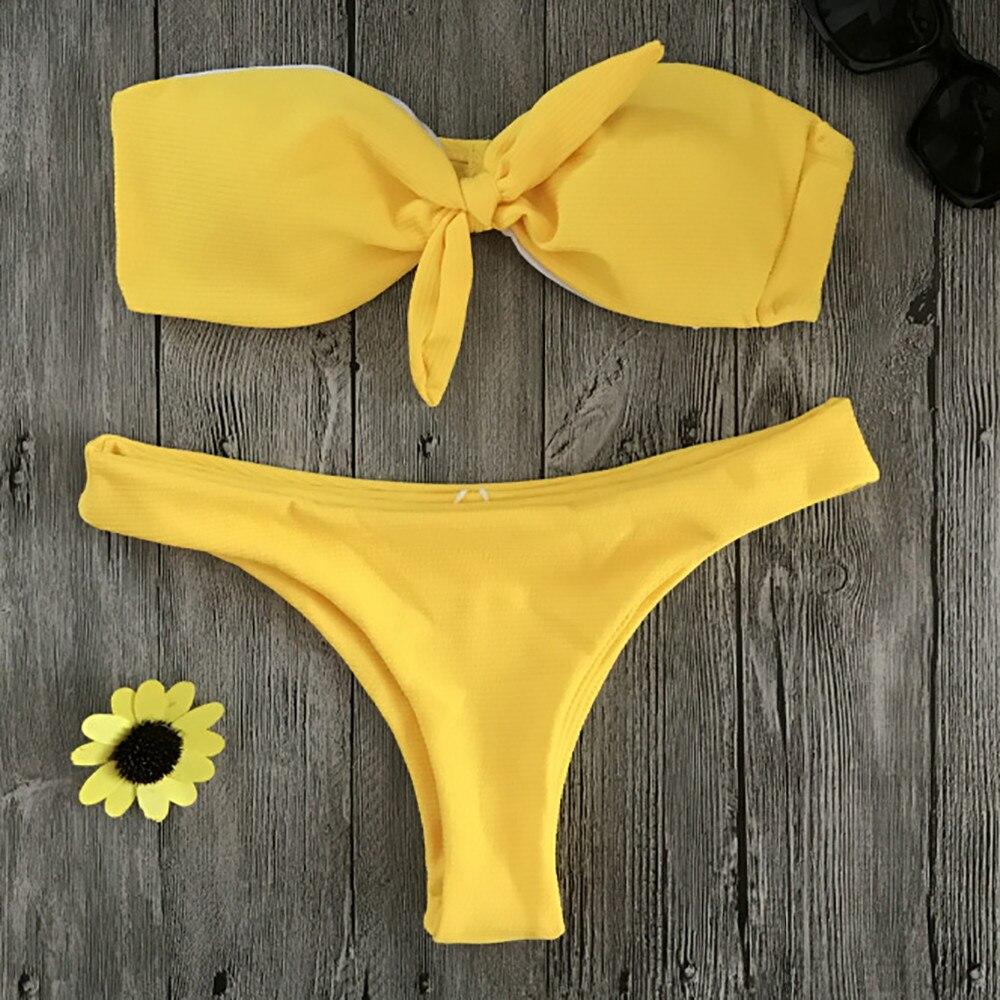Womail Yellow Solid Swimwear Women Sexy Brazilian Bikini Set 2018 Bandeau Swimsuit Push Up Bathing Swiming Suit May Beach Wear