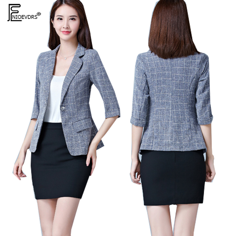 Fast Deliver Business Suits Women Fashion Summer Autumn Slim Short Coats Design Blue Plaid Blazers Elegant Work Office One Button Blazer 7215 Perfect In Workmanship
