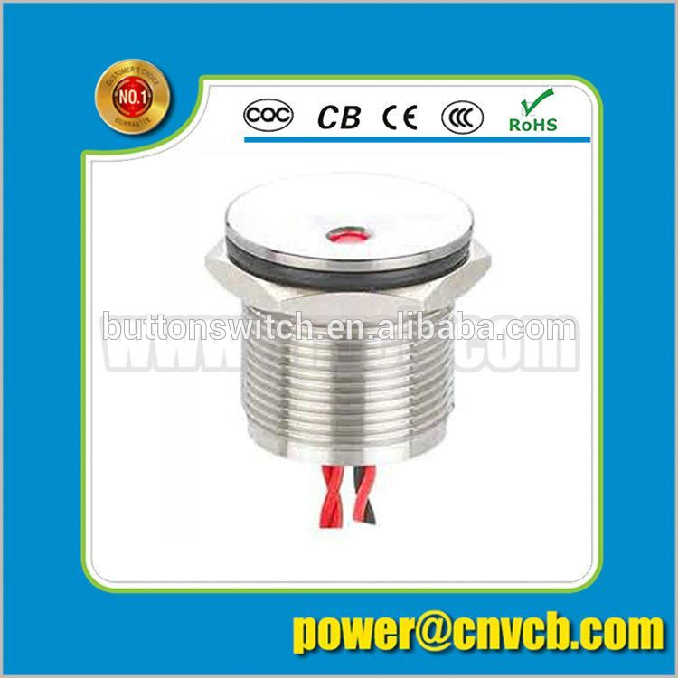 PS022 Sell well IP68 waterproof 19mm flat head momentary Dot led illuminated wired metal piezo switch