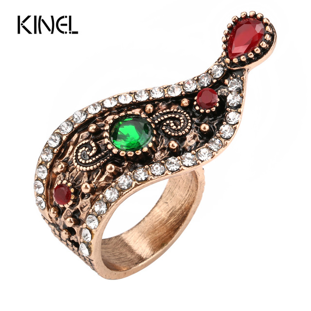 Hot Turkish Jewelry Antique Rings For Women Unique Ounk Style Gold Color Crystal