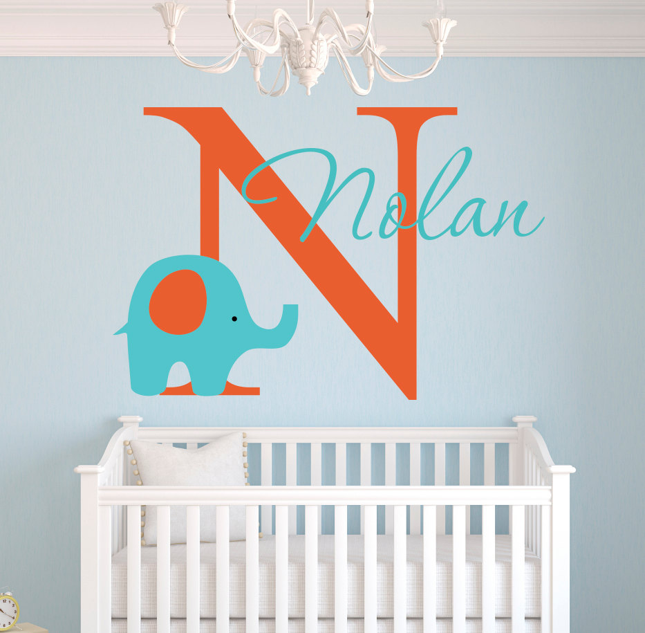 Personalized Lovely Elephant Name Wall Stickers For Kids Room Nursery Baby Wall Decals Girl Boys Bedroom Customize Gift JW036A