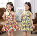 Summer Baby Kids Girls Flower Dress 4 Colors Floral Dress Sleeve-less For 4~16 Year Kids 6 sets/lot