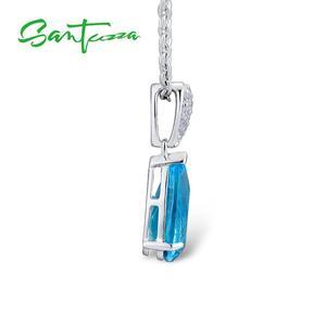 Image 5 - Santuzza Sieraden Set Voor Vrouwen Magic Sky Blue Crystal Cz Stenen Drop Earring Hanger Set 925 Sterling Zilveren Sieraden