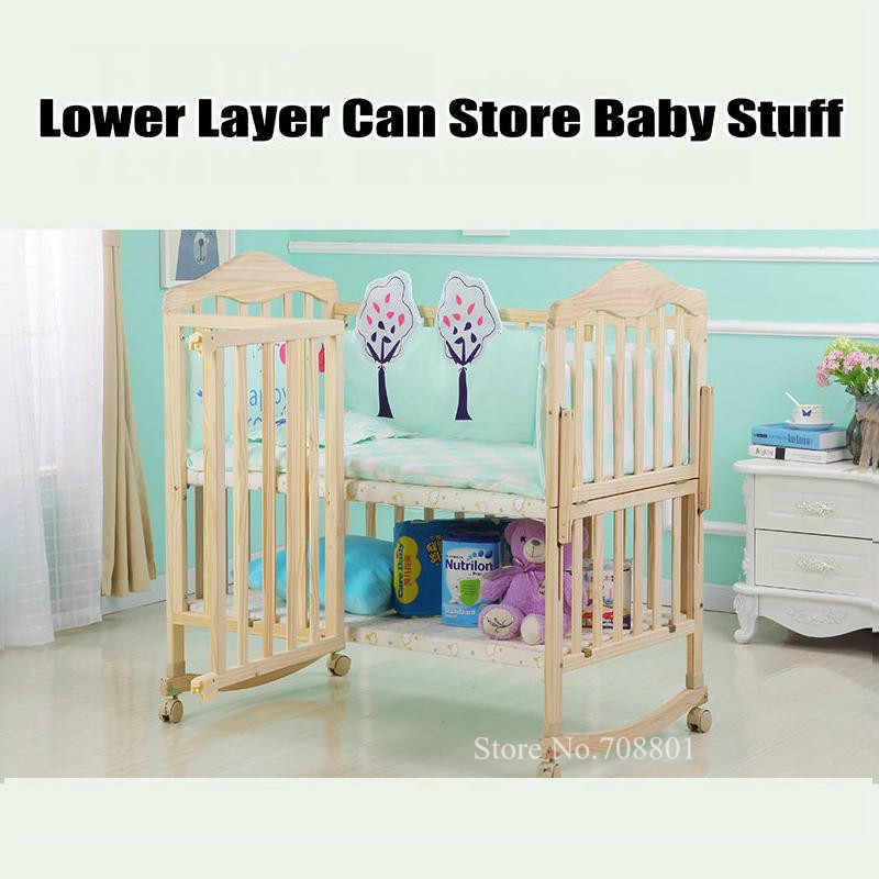 Детская кроватка из соснового дерева с 4 колесами, половина комбайн с взрослой кроватью, без краски детская кровать, может продлить до 150 см Длина детская кроватка