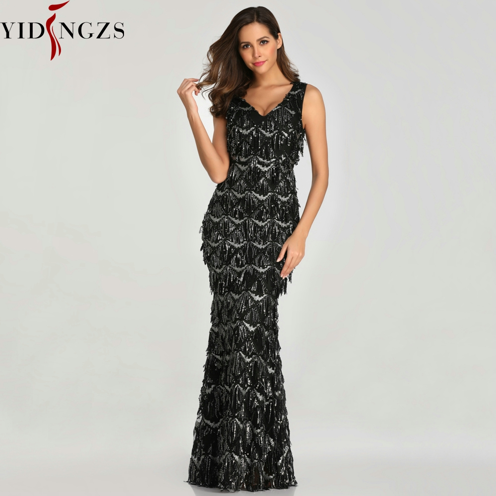 YIDINGZS Black Sexy V neck Tassel Sequin Sleeveless Prom Dress Women Elegant Long Party Dress