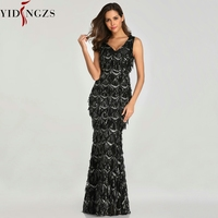 YIDINGZS Black Sexy V neck Tassel Sequin Sleeveless Prom Dress Women Elegant Long Party Dress