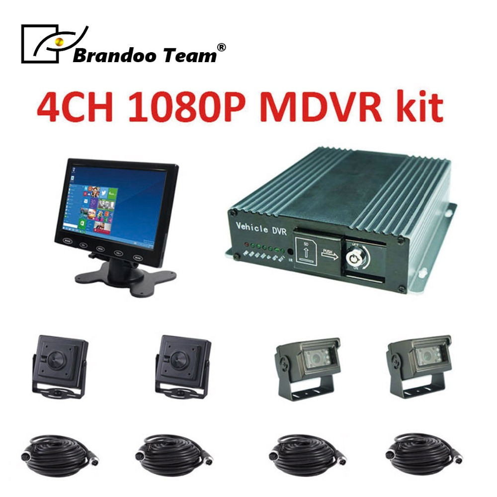 Vehicle Security Product 1080P 4CH SD Card MDVR with car camera and car monitor