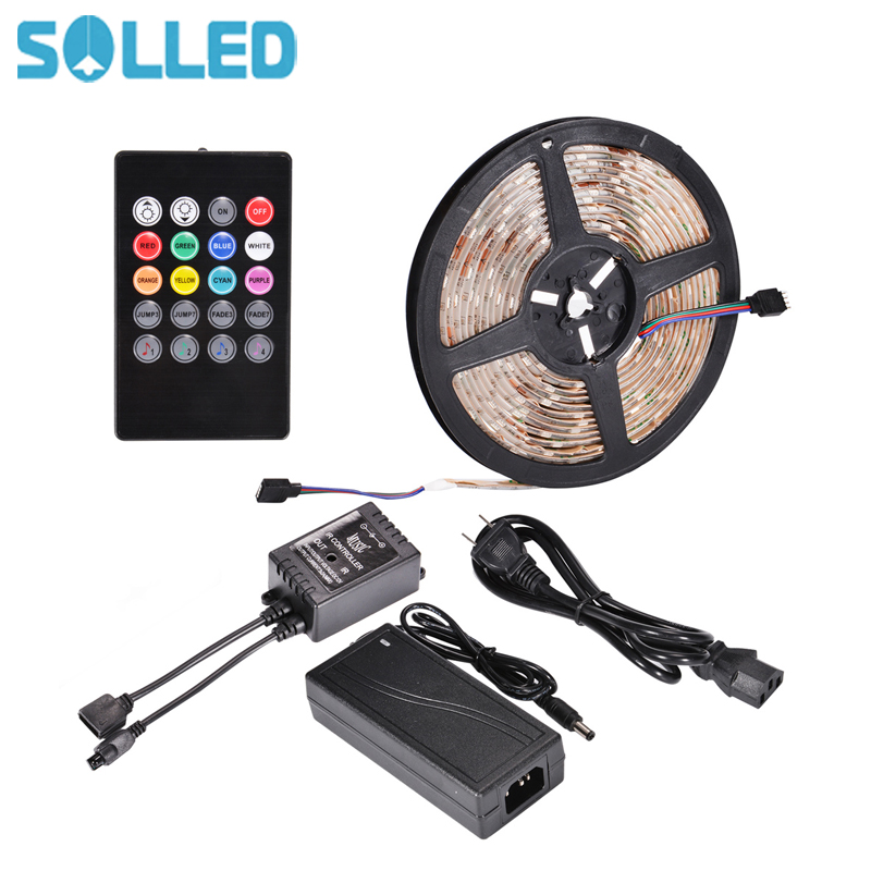 SOLLED SMD505 RGB LED Strip Waterproof DC5V LED RGB LED Light Strips Flexible with USB Power and Remote Control