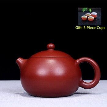 Yixing Purple Clay Tea Pot Genuine All Hand Made Dahongpao Xishi Teapot Kung Fu Teapot Bonus 5 Piece Cups Tea Set Free Shipping