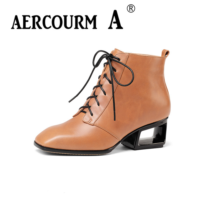aercourm A Women Cowhide Boots Winter Shoes Wool Short Plush Winter Boots High Quality Genuine Leather Footwear Ankle Boots Z939 de la chance winter women boots high quality female genuine leather boots work
