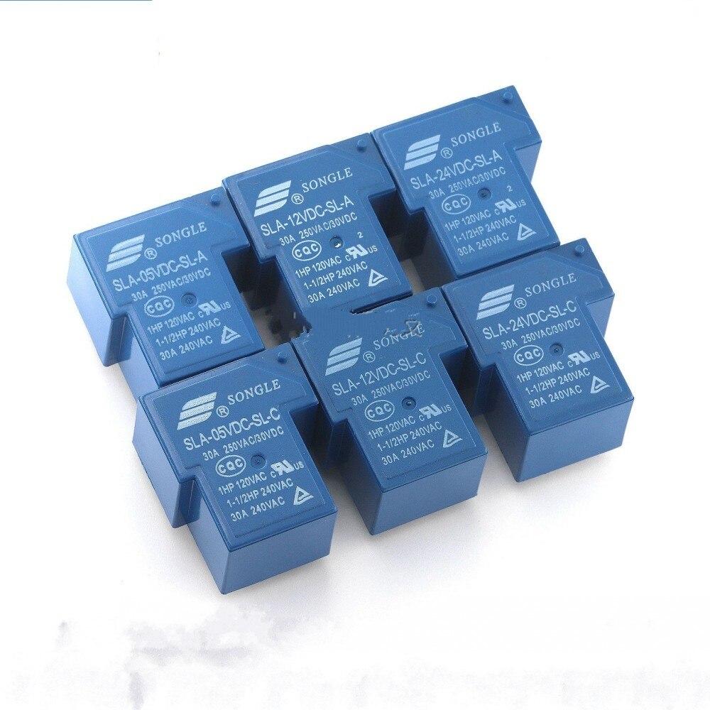 5pcs//10pcs//20pcs SongLe relay SLA-12VDC-SL-A T90 12V 30A  4PIN blue